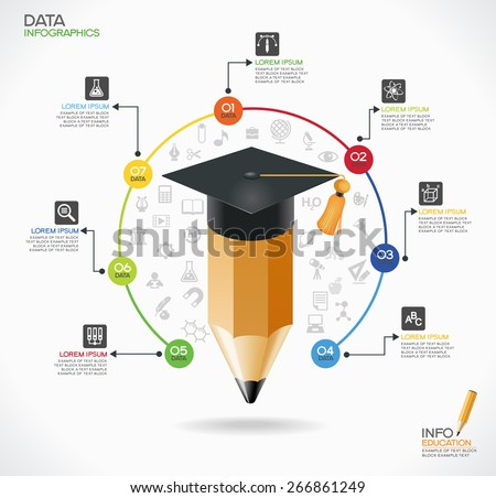 Education infographic Template. Concept education. Academic cap and pensil surrounded by icons of education, text, numbers. The file is saved in the version AI10 EPS. - stock vector