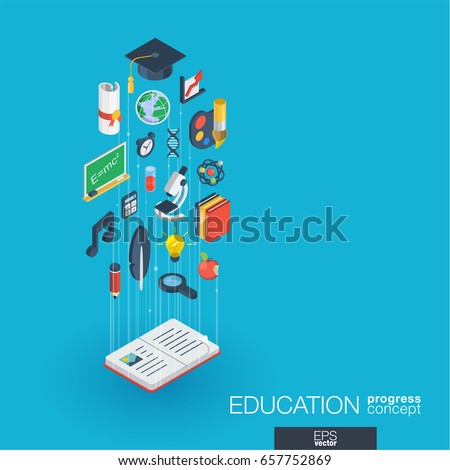 Education integrated 3d web icons. Digital network isometric progress concept. Connected graphic design line growth system. Abstract background for elearning, graduation and school. Vector Infograph