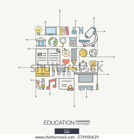 Education integrated thin line symbols. Modern color vector concept, with connected flat design icons. Abstract background illustration for elearning, knowledge, learn and global concepts. - stock vector