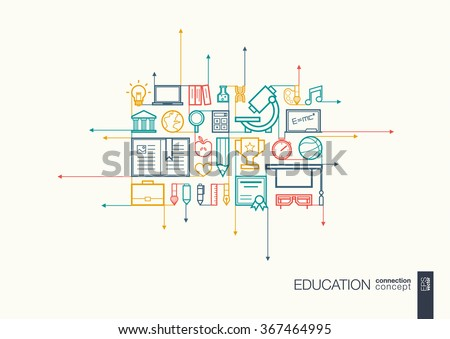 Education integrated thin line symbols. Motion arrows vector concept, with connected flat design icons. Abstract background illustration for elearning, knowledge, learn and global concepts - stock vector