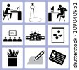 education, learning icon set - stock vector
