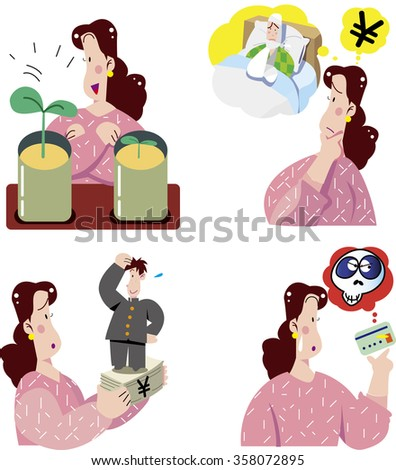 Education loans and disability insurance in Japan - stock vector
