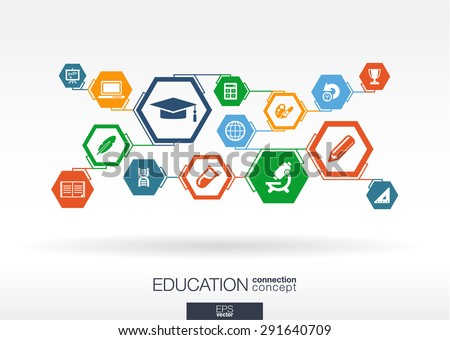 Education network. Hexagon abstract background with lines, polygons, and integrate flat icons. Connected symbols for elearning, knowledge, learn and global concepts. Vector interactive illustration - stock vector