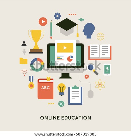 education object icons vector illustration flat design