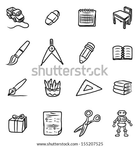 education objects or icons / cartoon vector and illustration, hand drawn style, isolated on white background. - stock vector