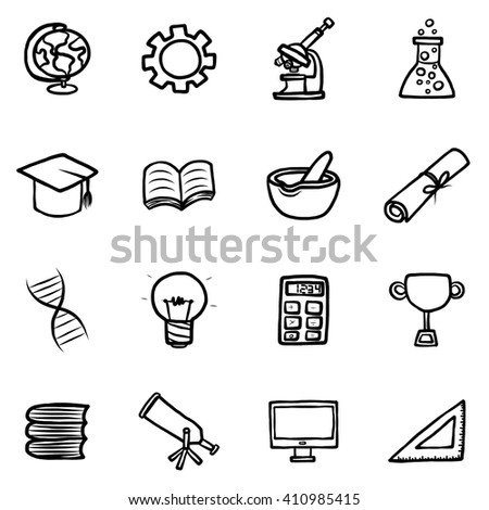 education objects or icons set/ cartoon vector and illustration, hand drawn style, isolated on white background. - stock vector