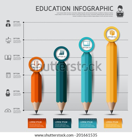 Education pencil Infographics graph and diagram option. Vector illustration. can be used for workflow layout, banner, diagram, number options, step up options, web design.