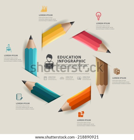Education pencil Infographics step option. Vector illustration. - stock vector