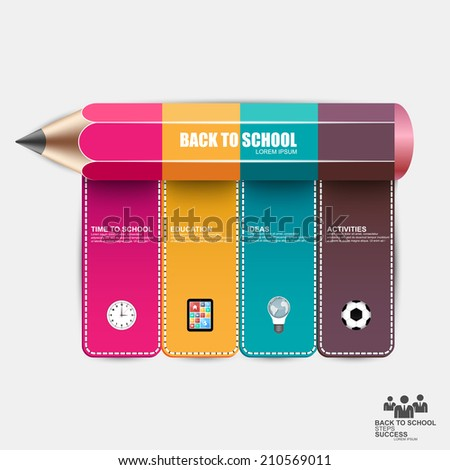 Education pencil success Infographics - stock vector