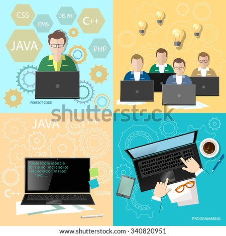Education programmers group students learning code development team programming binary code creation of sites and programs flat set - stock vector