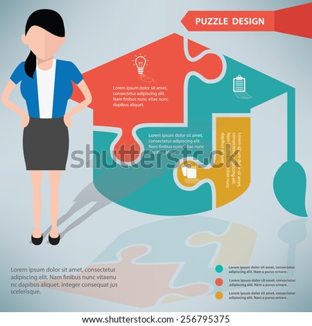 Education puzzle info graphic design and character,clean vector - stock vector