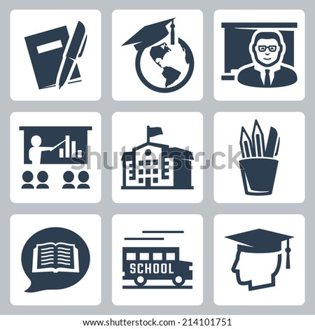 Education related vector icons set - stock vector