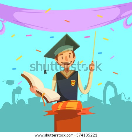 Education retro cartoon with happy graduating pupil holding open textbook vector illustration - stock vector