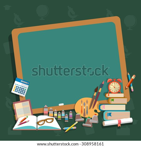 Education school board back to school textbooks notebooks pencils draw learn algebra mathematics college campus vector concept - stock vector