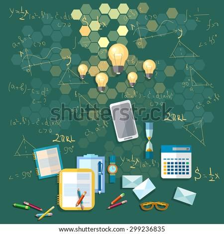 Education school board training formulas university college school math physics calculator books vector illustration - stock vector
