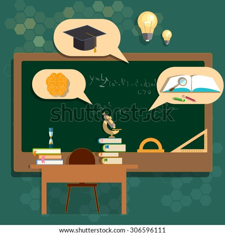 Education school boards classroom back to school college biology mathematics geometry vector illustration - stock vector