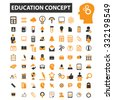 education, school, college, university icon & sign concept vector set for infographics, website - stock vector