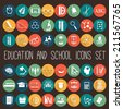 Education School Flat Icon Set. 48 icons - stock vector