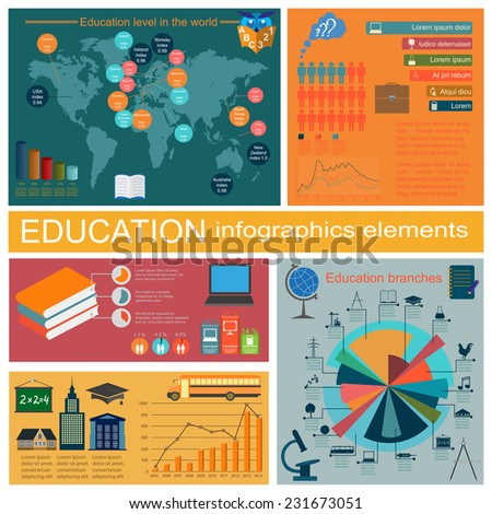Education school infographics. Set elements for creating your own infographics. Vector illustration - stock vector