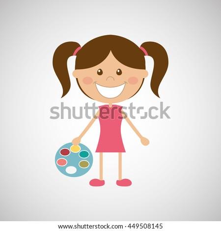 education school student child people girl kids - stock vector