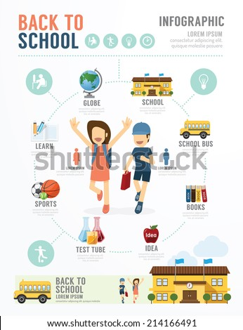 Education School Template Design Infographic . concept vector illustration - stock vector