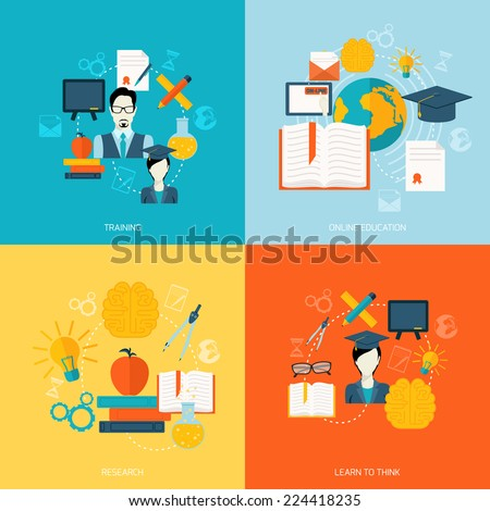 Education school university online flat icons set with training research learn to think isolated vector illustration - stock vector