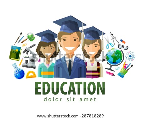 education, schooling vector logo design template. students, graduates or school, college, university icon. flat illustration - stock vector