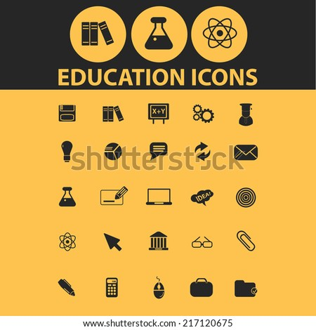 education, science icons, signs, illustrations, silhouettes set, vector - stock vector
