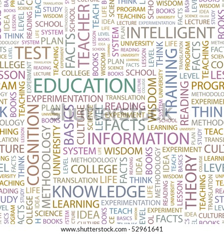 EDUCATION. Seamless vector background. Wordcloud illustration. - stock vector