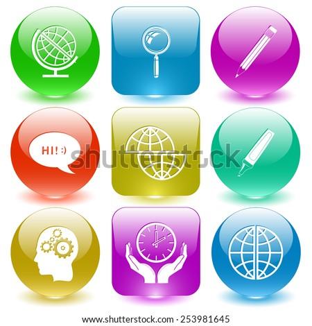 Education set. Vector set glass buttons. - stock vector