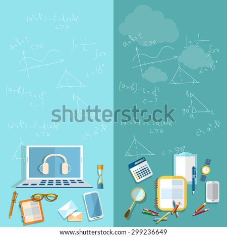 Education student school teacher university college study geometry mathematics algebra formulas on a blackboard pencils notebooks laptop vector banners - stock vector
