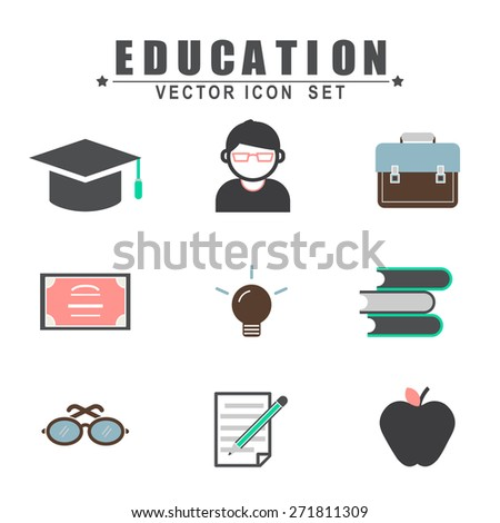 Education Studying Learning Activity Icons Set Concept - stock vector