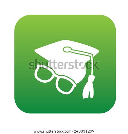 Education symbol design on green button,clean vector - stock vector