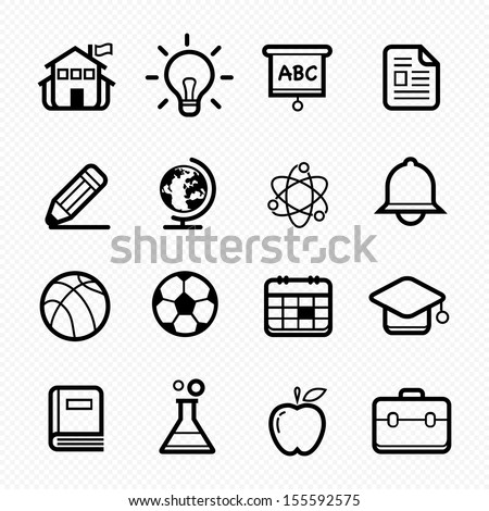 Education symbol line icon on white background - Vector illustration