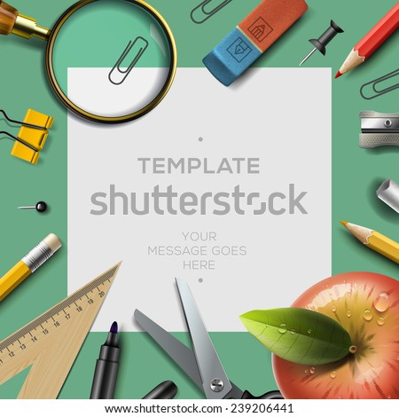 Education template with office supplies, back to school background, vector illustration.  - stock vector