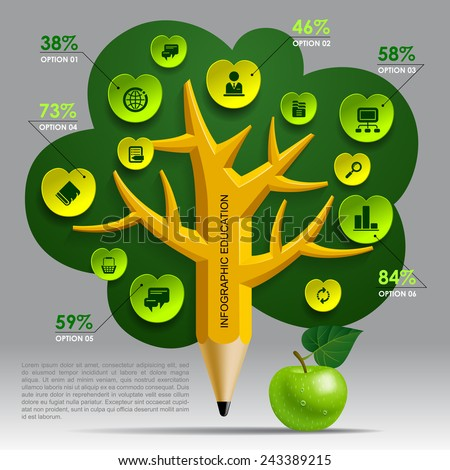 Education Template with pencil tree and green apple, web icons and place for your content. Concept vector illustration - stock vector