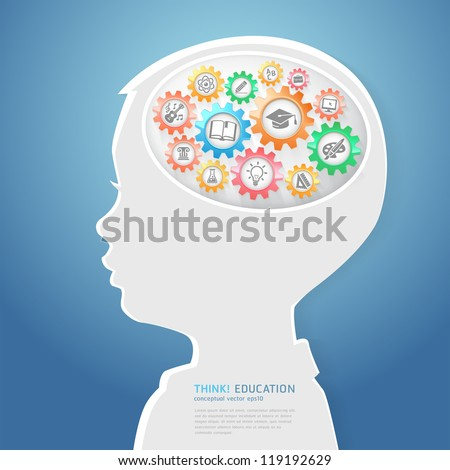 Education Thinking Concept. Children Think with Education icons in Gears. Vector Illustration - stock vector