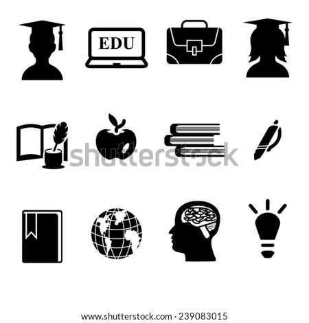Education vector icon set - stock vector