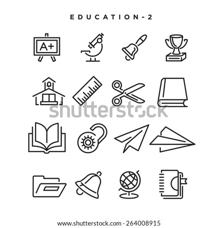 Education vector icons. Elements for print, mobile and web applications. - stock vector