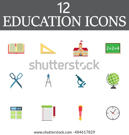Education vector icons set, colorful solid symbol collection, school pictogram pack isolated on white, pixel perfect logo illustration