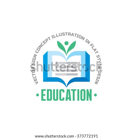Education - vector logo concept illustration in flat style design. Learning logo sign. Book logo sign. High school logo sign. University logo sign. Library logo sign. Vector logo template.  - stock vector