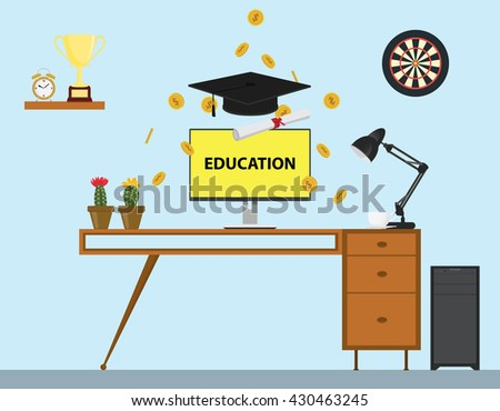 education with cap and paper trophy gold coin and work desk vector graphic illustration - stock vector