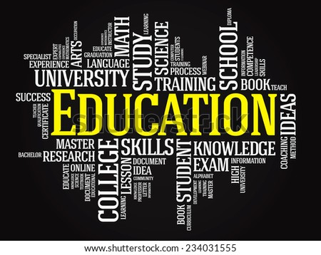 EDUCATION. Word business collage on black background. Vector illustration - stock vector