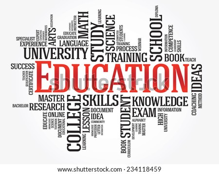 EDUCATION. Word business collage on white vector background - stock vector