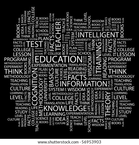 EDUCATION. Word collage on black background. Vector illustration. - stock vector
