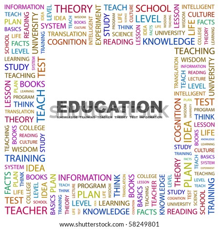 EDUCATION. Word collage on white background. Illustration with different association terms. - stock vector