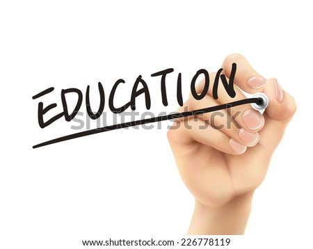 education word written by 3d hand over white background - stock vector