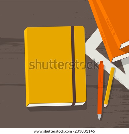 Education workplace with notebook, books, pencil, pen & ruler on wooden school desk - stock vector