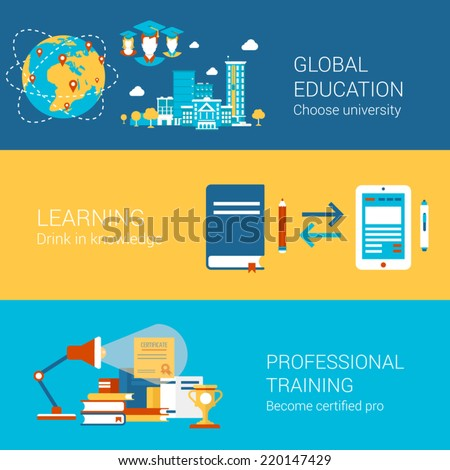 Education world university study learning professional training concept flat icons set  certification and vector web banners illustration print materials website click infographics elements collection - stock vector