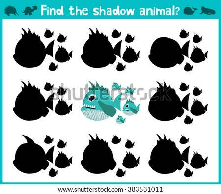 Educational children cartoon game for children of preschool age. Find the right shadow of a predatory fish of the Amazon river piranhas. Vector illustration - stock vector